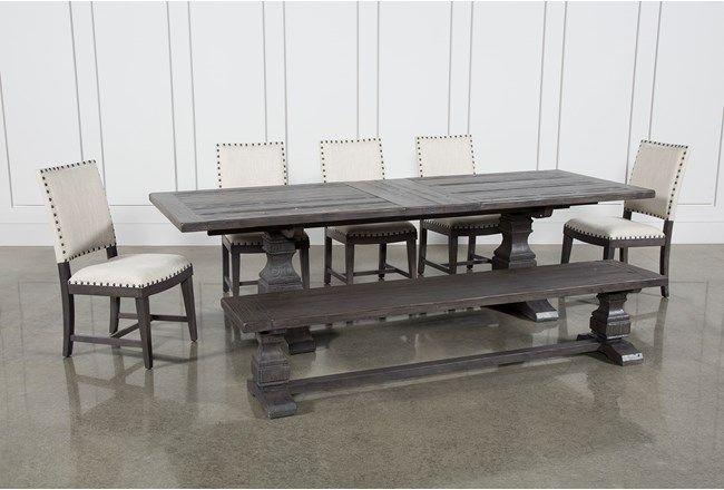 Norwood 7 Piece Rectangular Extension Dining Set With Bench & Uph in Norwood Rectangle Extension Dining Tables