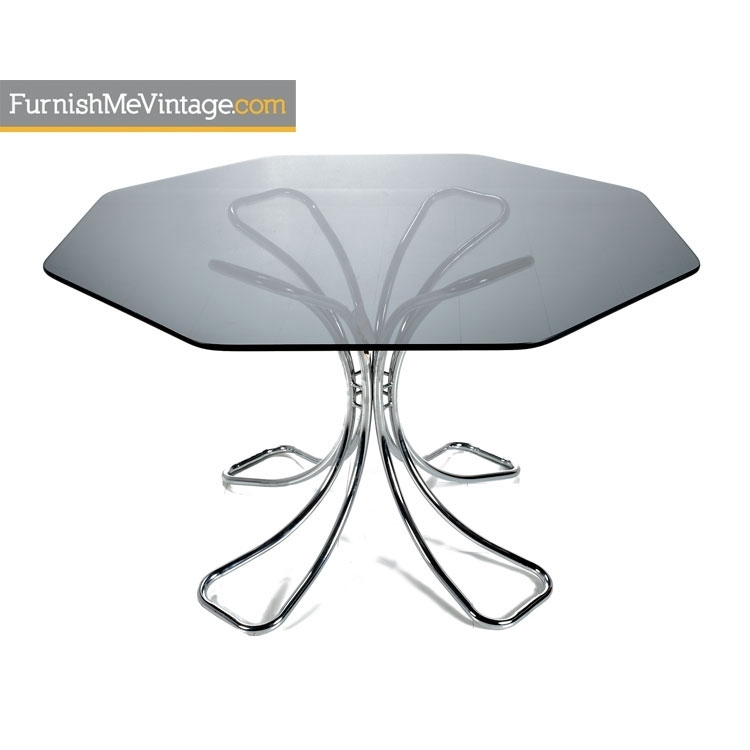 Nos Vintage Futura Chrome Dining Table Intended For Chrome Glass Dining Tables (Image 15 of 25)