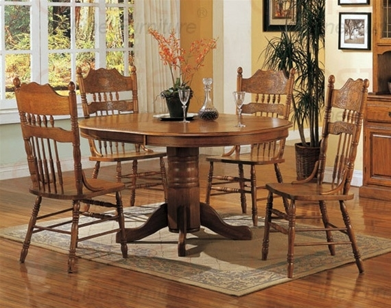 Nostalgia 5 Piece 42 Inch Round Dining Set With Press Back Chairs In For Oak Dining Sets (Image 8 of 25)