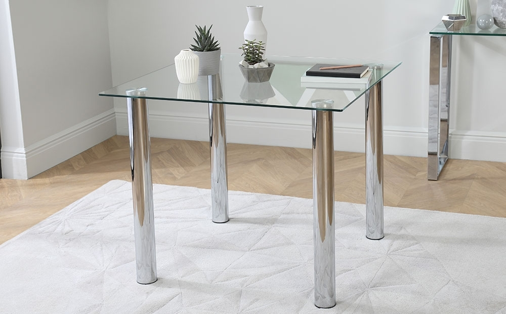 Nova & Renzo Square Glass & Chrome Dining Table And 4 Chairs Set Within Chrome Dining Tables (Image 20 of 25)