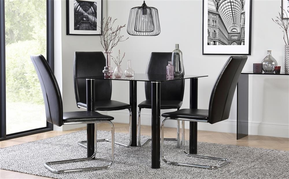 Nova Square Black Glass Dining Table - With 4 Pica Black Chairs | Ebay in Square Black Glass Dining Tables