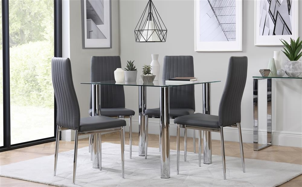 Nova Square Chrome And Glass Dining Table With 4 Leon Grey Chairs intended for Leon Dining Tables