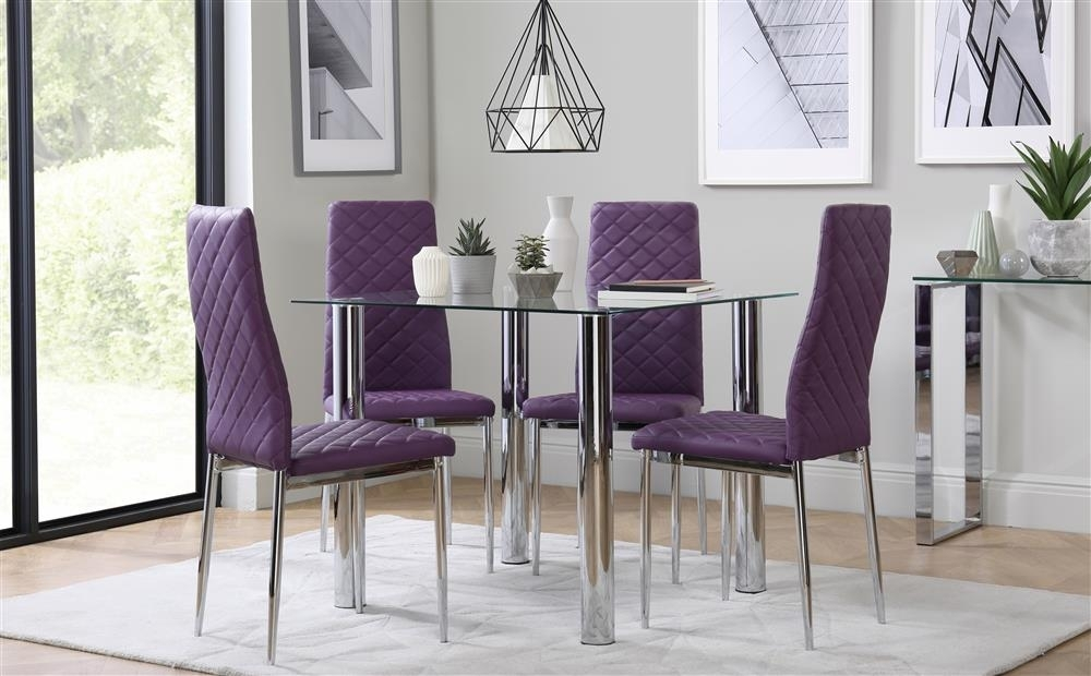 Nova Square Chrome And Glass Dining Table With 4 Renzo Purple Chairs Throughout Dining Tables And Purple Chairs (Image 12 of 25)