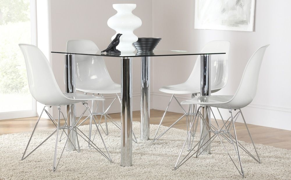 Nova Square Glass & Chrome Dining Table And 4 Dsr Chairs Set (Helix inside Glass And Chrome Dining Tables And Chairs
