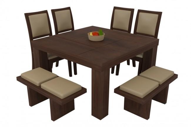 Novara Walnut Dining Table Set 8 Seater (Teak Wood) – Adona Adona Woods Regarding Walnut Dining Table Sets (Photo 24 of 25)