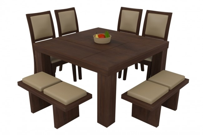 Novara Walnut Dining Table Set 8 Seater (Teak Wood) - Adona Adona Woods with 8 Seater Black Dining Tables