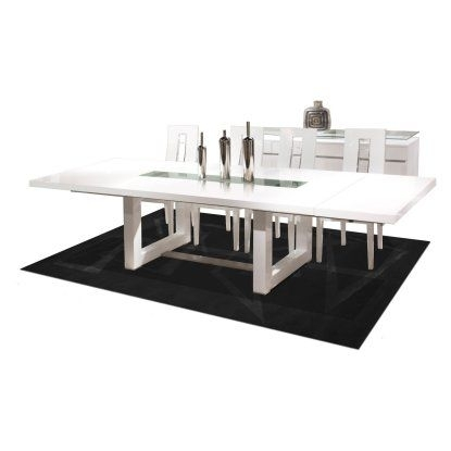 Novo Rectangular Extendable Dining Table – White Lacquer | Hayneedle Inside Teagan Extension Dining Tables (Image 21 of 25)