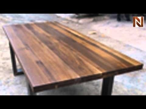 Nuevo Lyon Dining Table Seared Oak, High Polish Stainless – Youtube Within Lyon Dining Tables (Image 21 of 25)