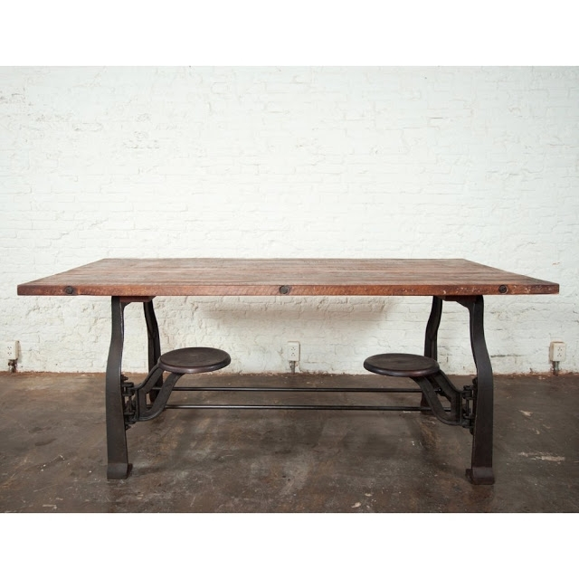 Nuevo V45 Reclaimed Wood Top Dining Table With Attached Stools Regarding Dining Tables With Attached Stools (Photo 7 of 25)