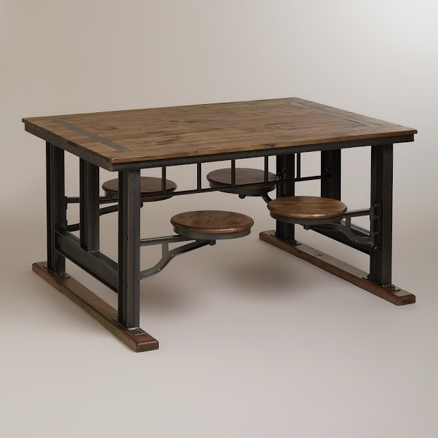 Nuevo V45 Reclaimed Wood Top Dining Table With Attached Stools Throughout Dining Tables With Attached Stools (Image 21 of 25)