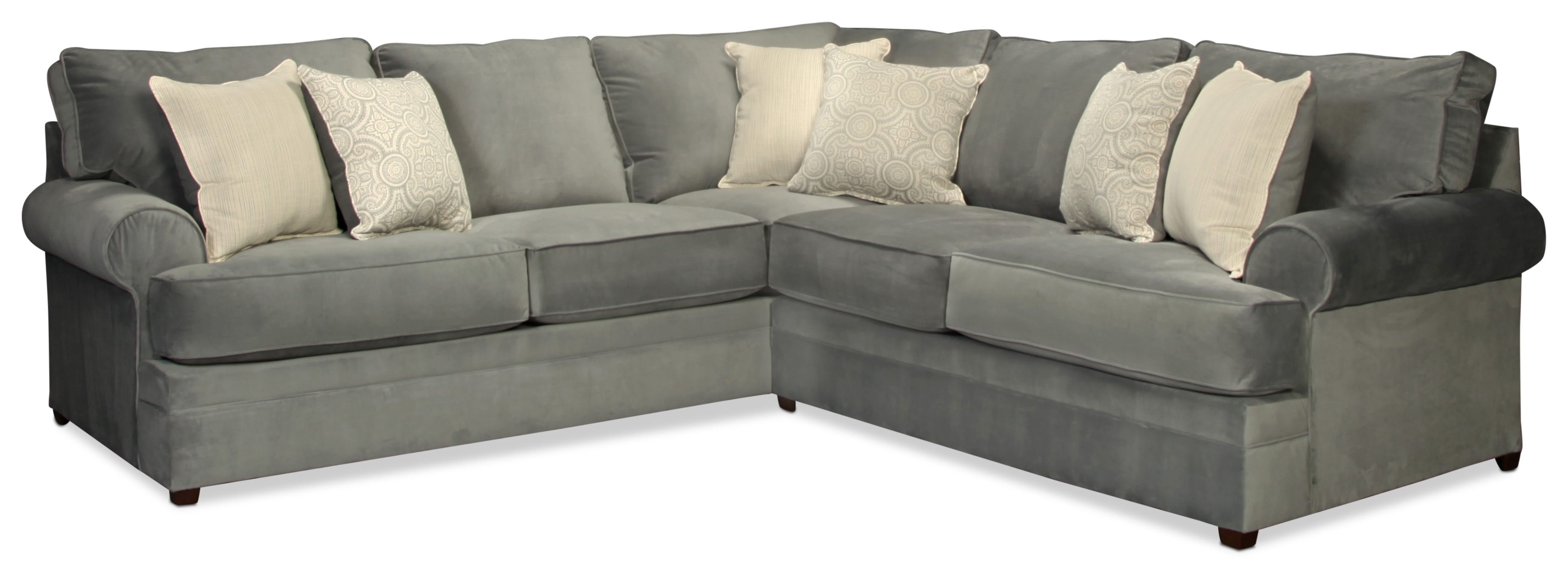 Nyos 2-Piece Sectional - Gray | for Kristen Silver Grey 6 Piece Power Reclining Sectionals