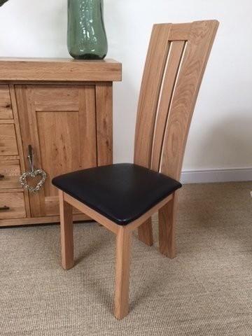 Oak Dining Chairs Elle Solid Oak U0026 Brown Leather Dining Chair With Oak Leather Dining Chairs (Image 18 of 25)