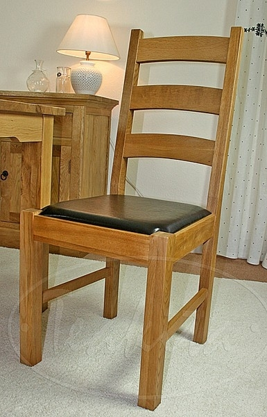 Oak Dining Chairs … Oxford Solid Oak And Leather Ladder Back Dining Inside Oak Leather Dining Chairs (Photo 8 of 25)