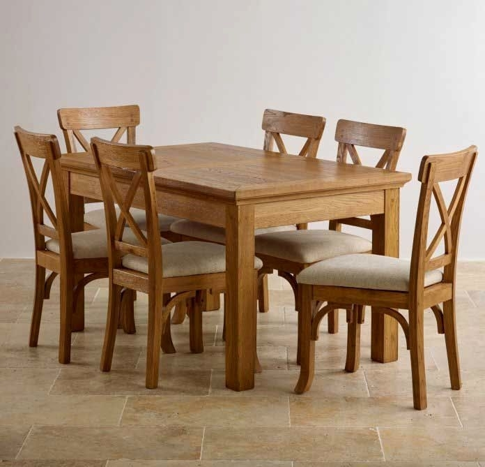 Oak Dining Room Set With 6 Chairs – Ezvanity (View 16 of 25)