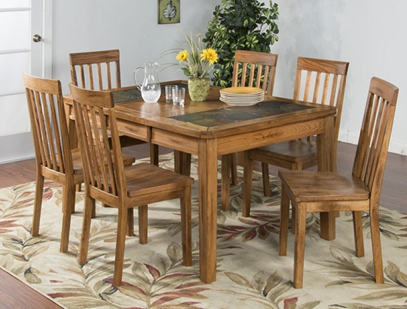 Oak Dining Sets Arizona Rustic Oak Slate Top Dining Table Set W/ 6 With Regard To Oak Dining Tables Sets (Photo 20 of 25)