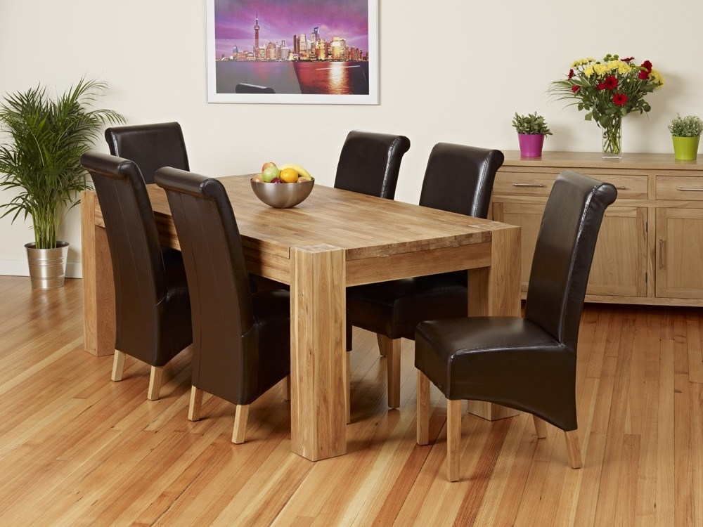 Oak Dining Table And Bench Set – Castrophotos Pertaining To Chunky Solid Oak Dining Tables And 6 Chairs (Image 17 of 25)