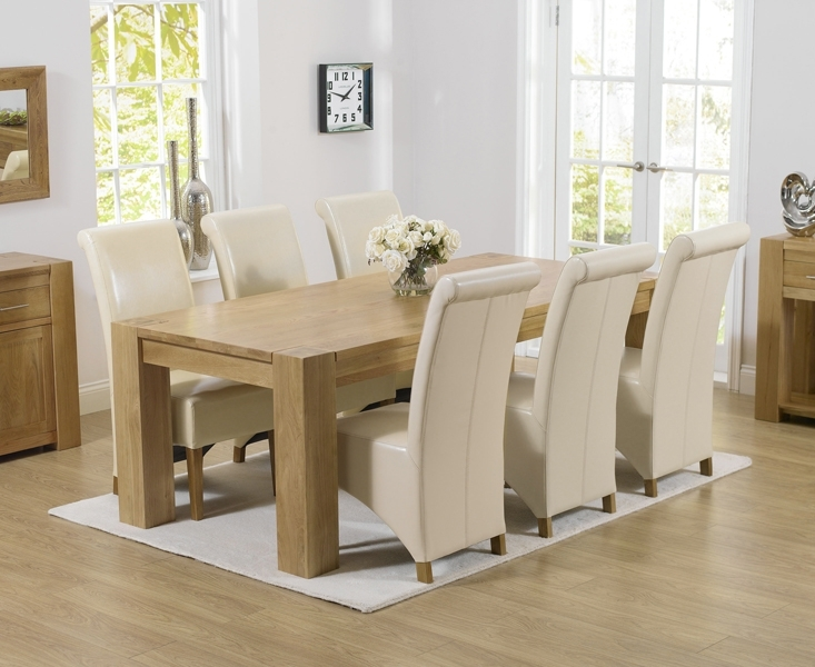 Oak Dining Table And Black Leather Chairs Chunky Oak Dining Table With Chunky Solid Oak Dining Tables And 6 Chairs (Image 18 of 25)