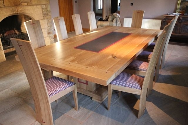 Oak Dining Table And Chairs With Purple Heart Welsh Slate Insert with Oak Dining Tables