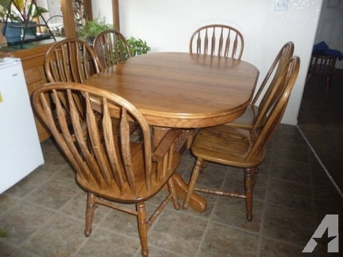 Oak Dining Table – Richardson Brothers 6 Chairs / 2 Leaf Extenders Pertaining To Oak Dining Set 6 Chairs (Photo 10 of 25)
