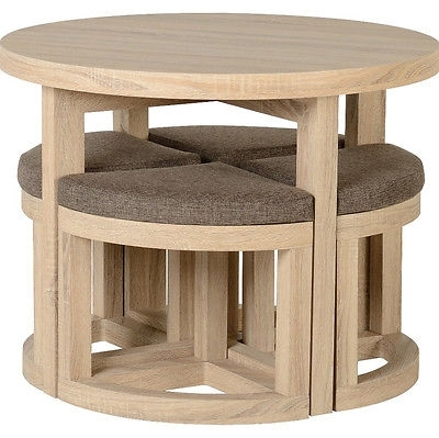 Oak Dining Table Small 4 Chairs Space Saving Seat Round Wooden Solid In Small Oak Dining Tables (Photo 19 of 25)