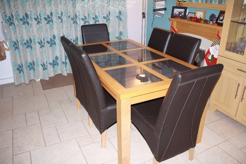 Oak Dining Table Smoked Glass Inserts | In Lymington, Hampshire with Glass Oak Dining Tables