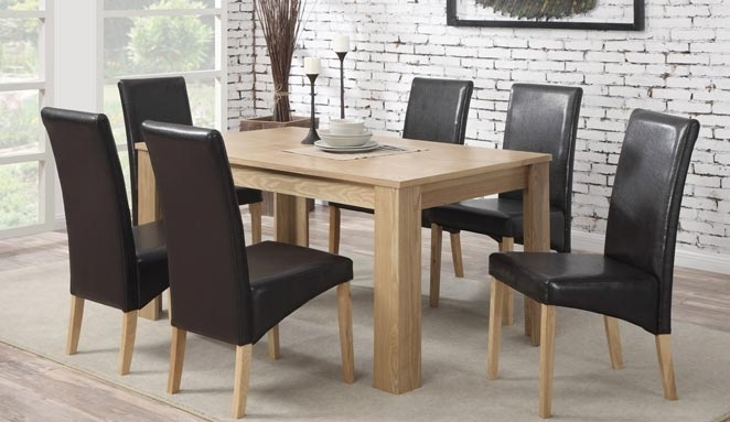Oak Dining Table With 6 Faux Leather Chairs 39% Off intended for Oak Dining Tables and Leather Chairs