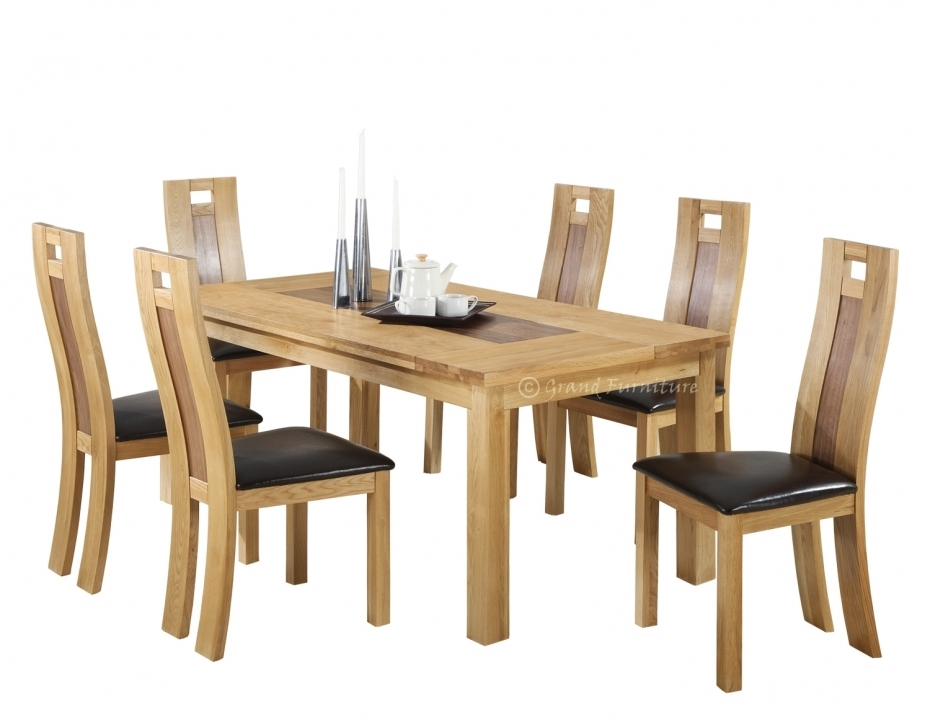 Oak Dining Tables And Chairs Solid Oak Dining Table And Oval Back In Oak Dining Set 6 Chairs (Image 21 of 25)