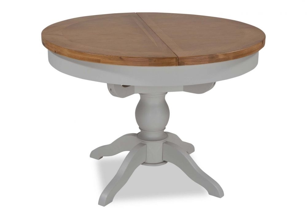 Oak Extendable Round Dining Table – Hudson – Ez Living Furniture Throughout Hudson Round Dining Tables (Image 23 of 25)