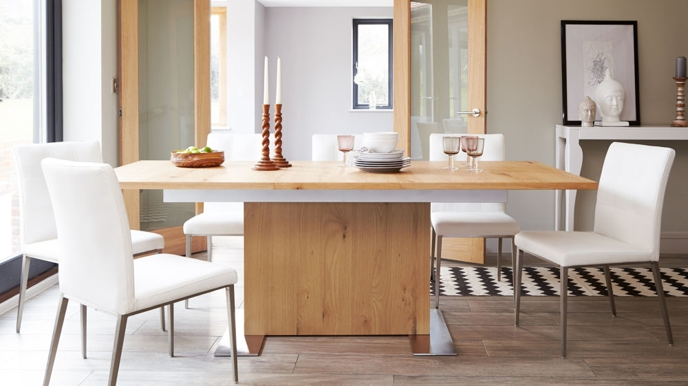 Oak Extending Dining Table And Chair Set | 4 8 Seater | Uk Regarding Extending Dining Tables And 4 Chairs (View 7 of 25)