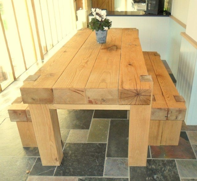 Oak Railway Full Sleeper Dining Table For Sale | Saw Mill Ideas In Within Railway Dining Tables (Image 6 of 25)