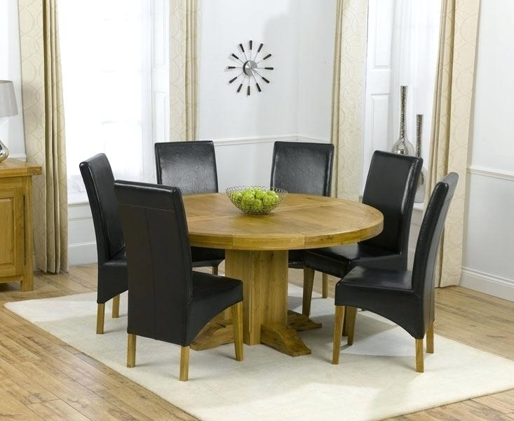 Oak Round Dining Table 6 Leather Chairs Ghost For Round Dining Table Intended For 6 Person Round Dining Tables (Image 15 of 25)