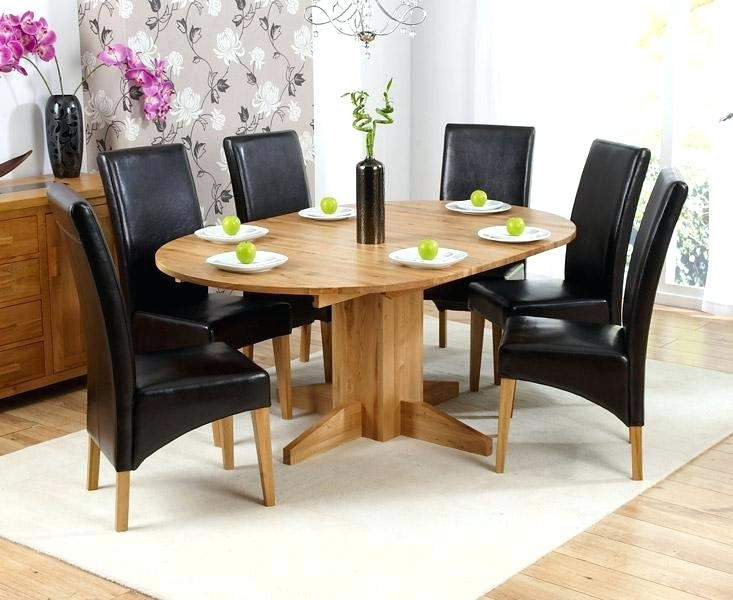 Oak Round Dining Table 6 Leather Chairs Ghost For Round Dining Table With Round 6 Person Dining Tables (Image 14 of 25)