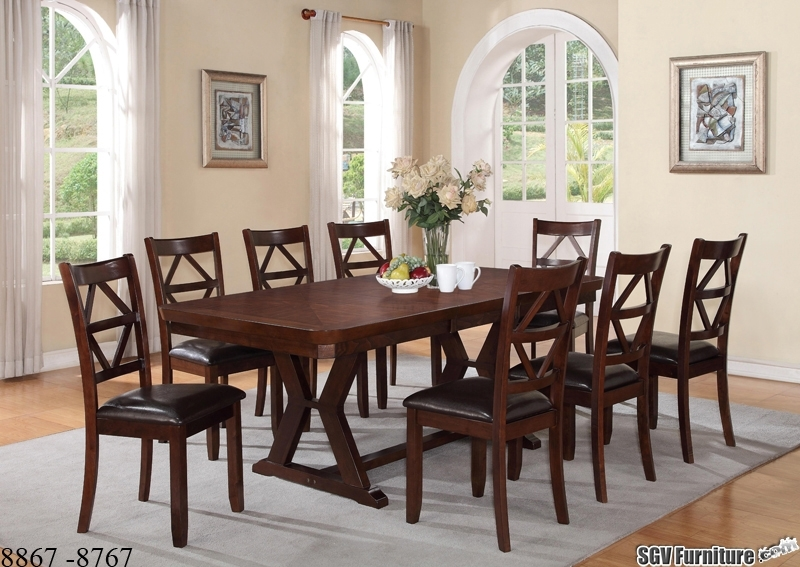 Oak Style 9 Piece Dining Set, 1 Table, 8 Chairs [8867 – 8767 Intended For Dining Tables And 8 Chairs Sets (Image 19 of 25)