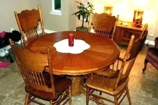 Oak Table Set Chairs And Hutch Next Solid Dining Round Wood Kitchen for Round Oak Dining Tables and Chairs