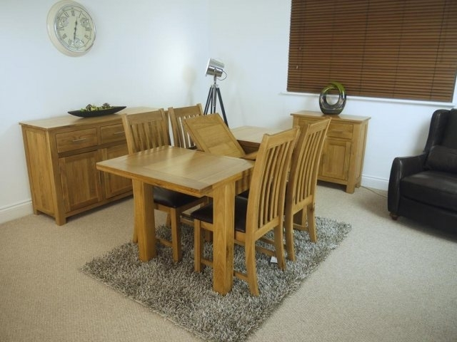Oakland Oak 1200 Extending Dining Table & 4 Chairs - Table And 4 for Extending Dining Tables and 4 Chairs