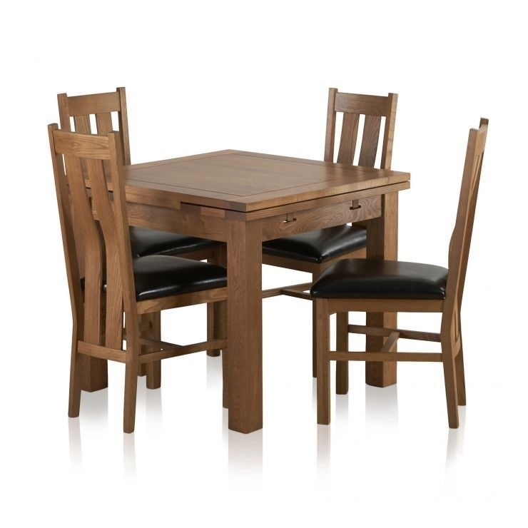 Oakland Sherwood Rustic Solid Oak 3Ft Dining Table With 4 Chairs for 3Ft Dining Tables