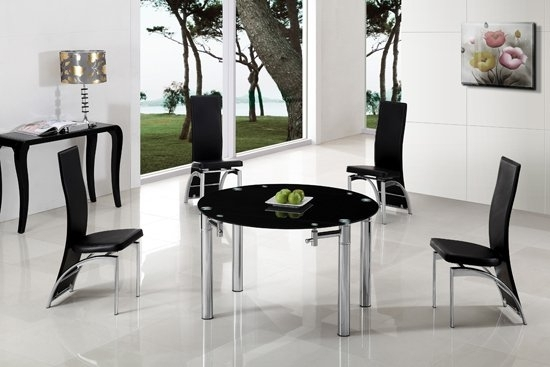 Oasis Extending Dining Table In Black Glass With Chrome in Glass Round Extending Dining Tables
