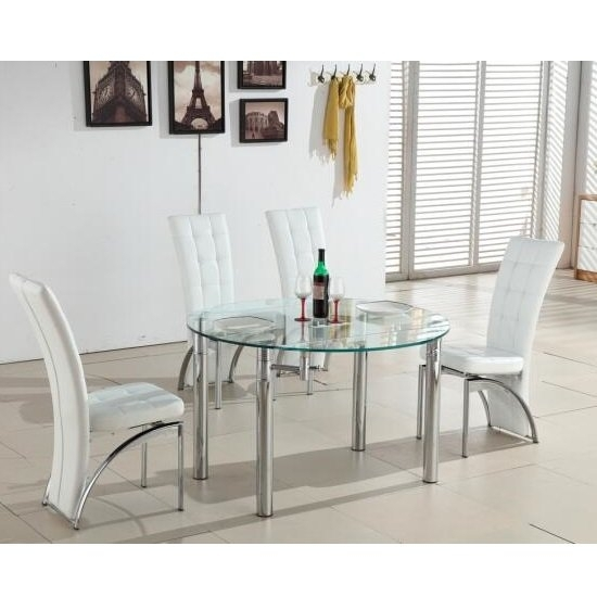 Oasis Round Extending Glass Dining Table And 4 White Chairs For Glass Round Extending Dining Tables (Photo 16 of 25)