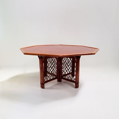 Octagonal Wood & Rattan Dining Table, 1960S For Sale At Pamono With Rattan Dining Tables (Photo 22 of 25)