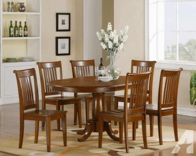 Ok· 7 Pc Portland Oval Dining Table With 6 Wood Chairs With Portland 78 Inch Dining Tables (Image 13 of 25)