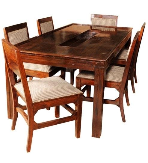 Olida Sheesham Wood Dining Table With Six Upholstered Chairs regarding Sheesham Wood Dining Tables