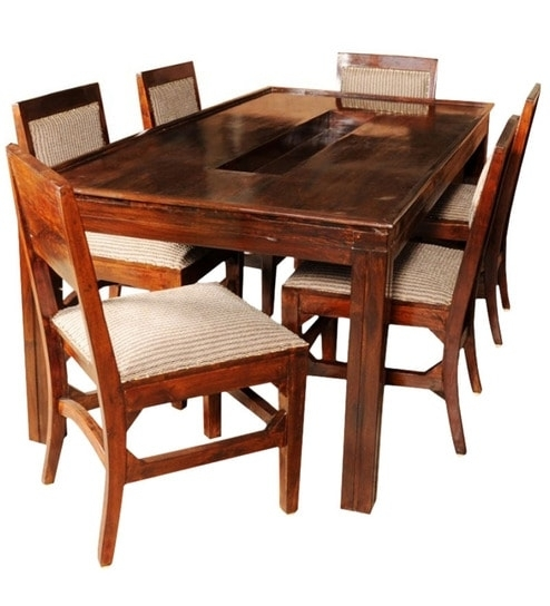 Olida Sheesham Wood Dining Table With Six Upholstered Chairs With Regard To Wooden Dining Sets (Image 15 of 25)