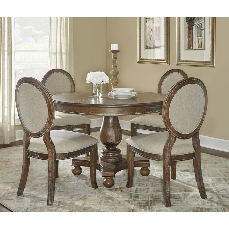 One Allium Way Hallows Creek 5 Piece Dining Set & Reviews | Wayfair Intended For Caira Black 5 Piece Round Dining Sets With Upholstered Side Chairs (View 4 of 25)