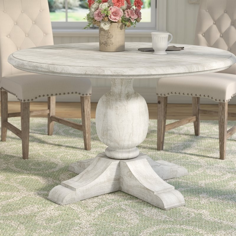 One Allium Way Valencia Dining Table & Reviews | Wayfair Pertaining To Valencia 5 Piece Round Dining Sets With Uph Seat Side Chairs (Photo 17 of 25)