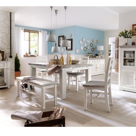 Opal Extendable Dining Table 4 Chairs And Bench In White pertaining to Extendable Dining Table And 4 Chairs