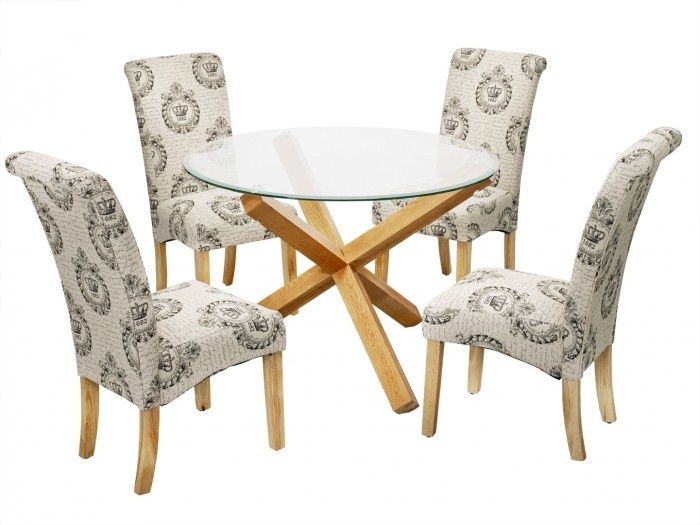 Oporto Kensington Dining Set | Special Offers | Furn On Pertaining To Round Glass Dining Tables With Oak Legs (Image 16 of 25)