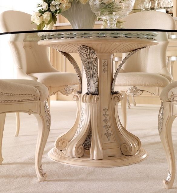 Opulent Italian Round Glass Dining Table Set | Juliettes Interiors Regarding Dining Room Glass Tables Sets (Photo 12 of 25)
