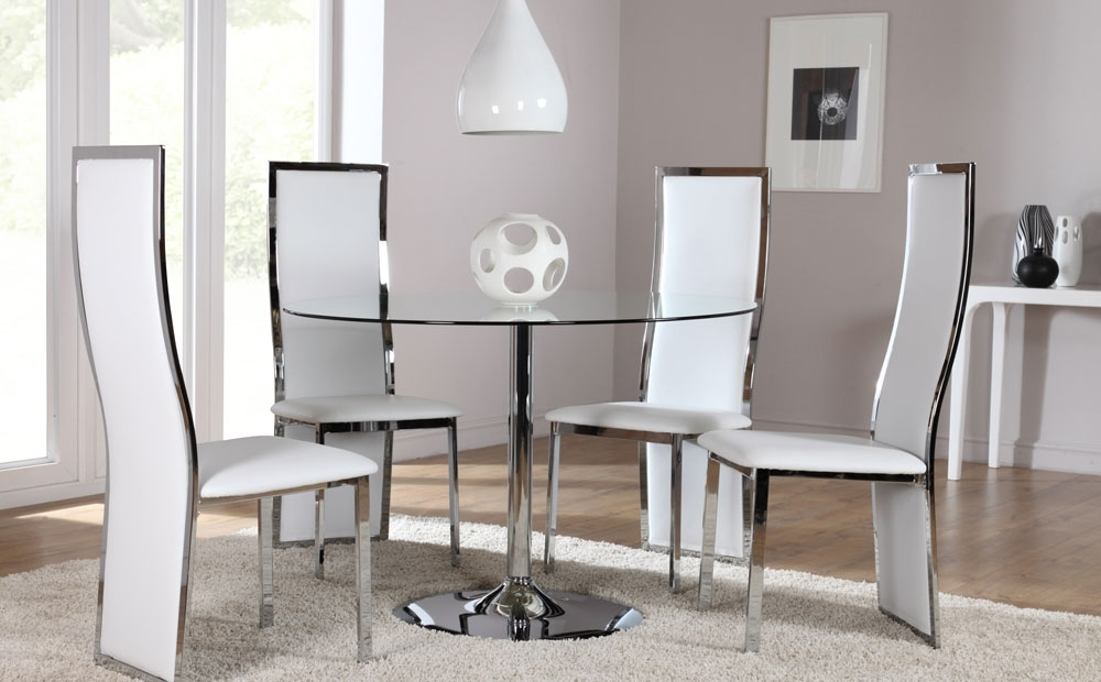 Orbit & Celeste Round Glass & Chrome Dining Room Table And 4 Chairs For Chrome Dining Room Sets (Image 16 of 25)