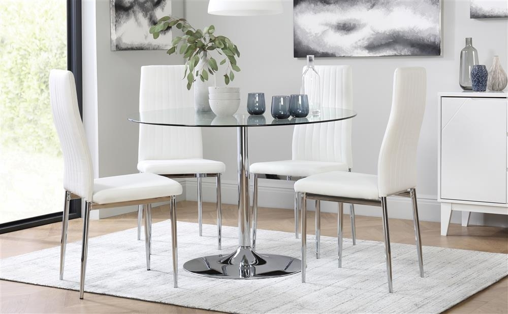 Orbit & Leon Round Glass & Chrome Dining Table And 4 Chairs Set Inside Chrome Dining Tables And Chairs (Image 16 of 25)