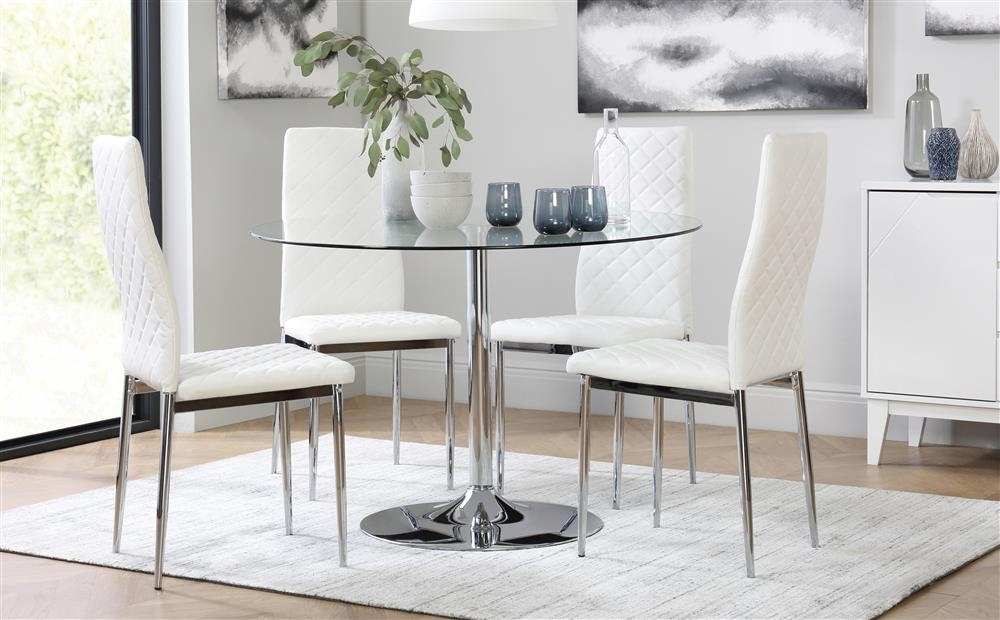 Orbit & Renzo Round Glass & Chrome Dining Table And 4 Chairs Set Intended For Glass And Chrome Dining Tables And Chairs (View 21 of 25)